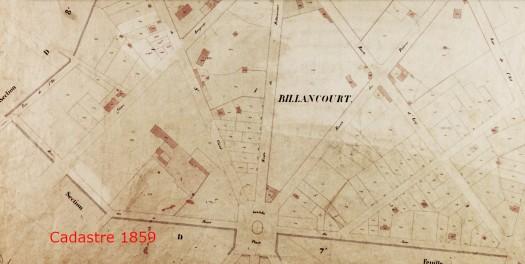 Cadastre de 1859. La ferme y est visible.