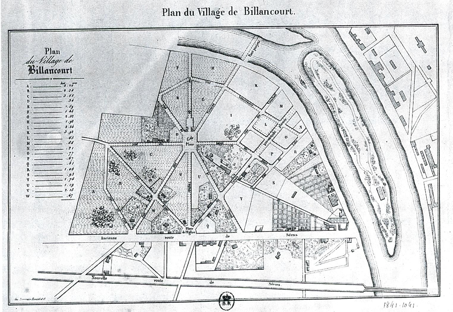 Plan du Village de Billancourt 1834