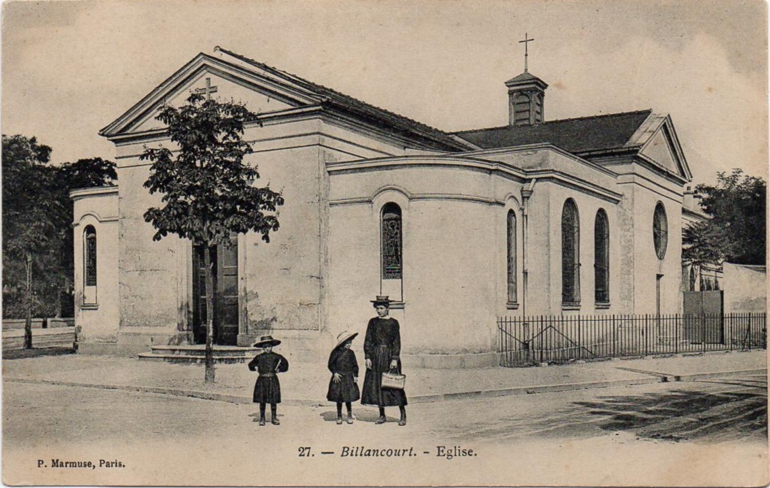 Eglise de l'Immaculée Conception. Place de l'église (Bir-Hakeim). Vers 1900.
