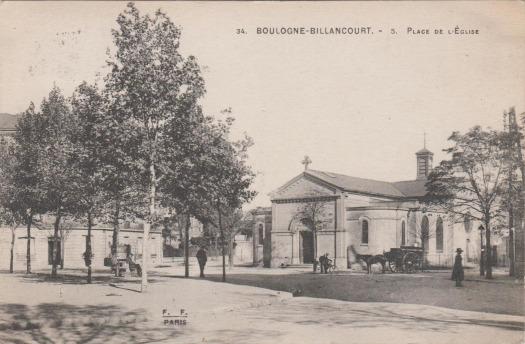 Eglise de l'Immaculée Conception. Place de l'église (Bir-Hakeim). Vers 1910.