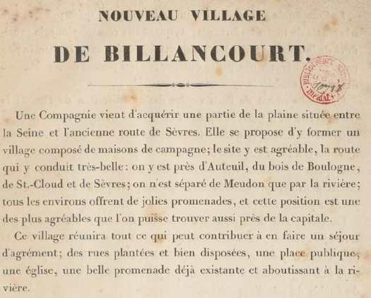 """Extrait du """"Nouveau Village de Billancourt"""""""