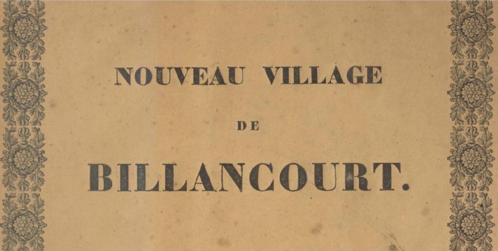"""Extrait du """"Nouveau Village de Billancourt""""."""