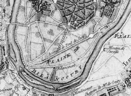 Extrait du plan de Paris par John Rocque. 1754.