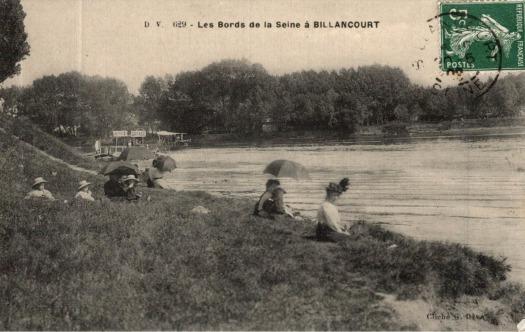 Les bords de Seine à Billancourt. Vers 1900.
