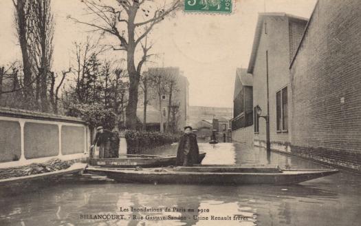 Renault rue Gustave Sandoz crue de 1910