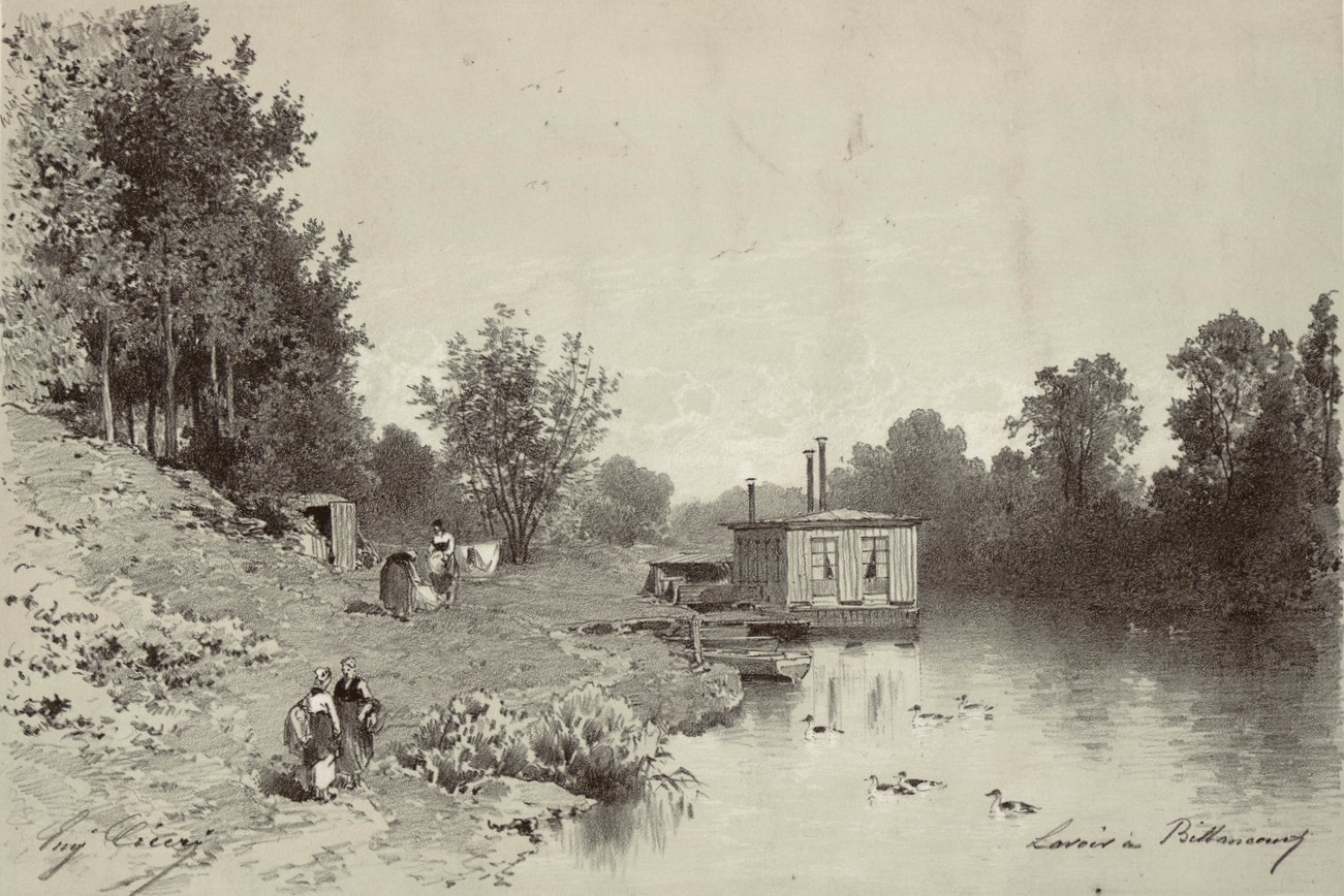 Lavoir à Billancourt - Eugène Ciceri (1813-1890)