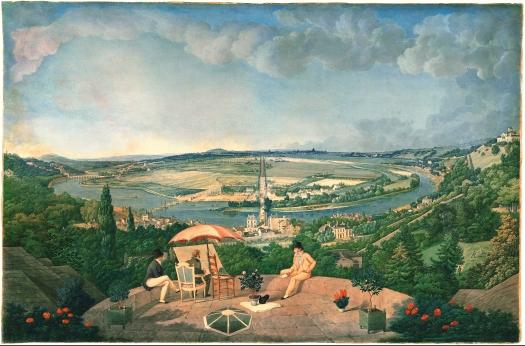 Carle Vernet - Vue du château de Bellevue et de la vallée de la Seine prise des terrasses du pavillon de Brimborion vers 1810 - 1812