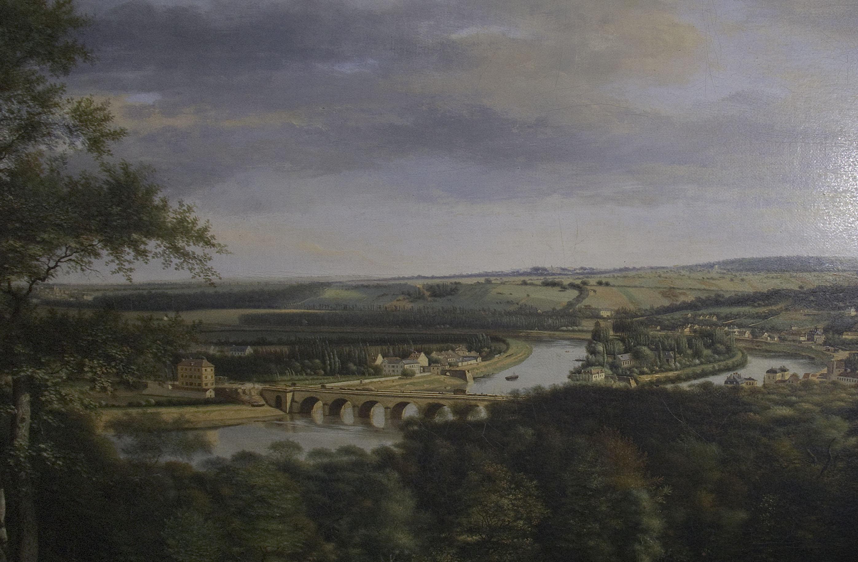 Hyacinthe Dunouy - Pont de Sèvres et ile Seguin-1821