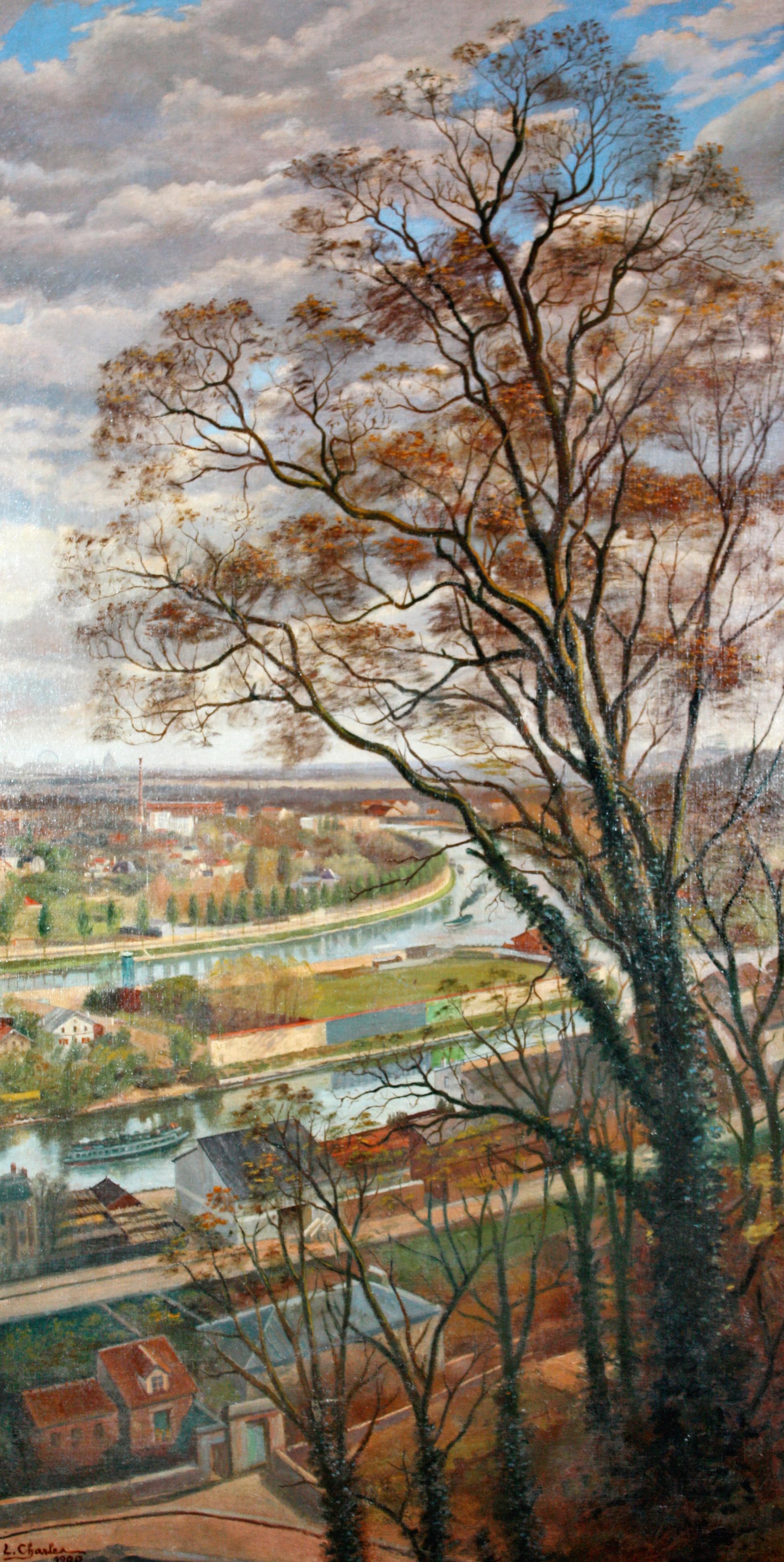 Louis Charles - L'ile Seguin vue de Bellevue vers 1900