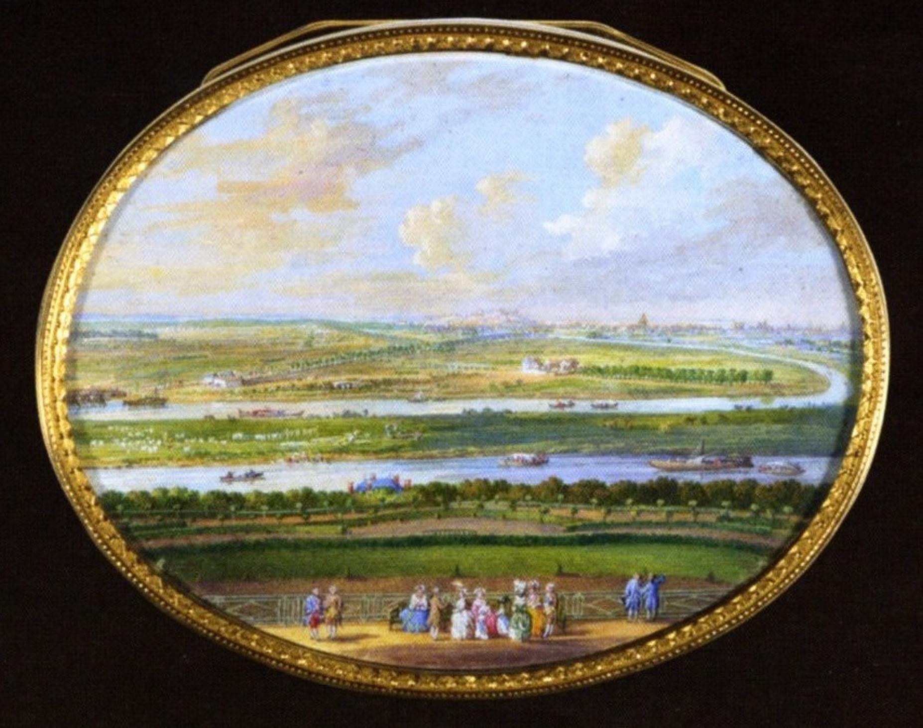 Louis Nicolas van Blarenberghe - vue depuis le château de Meudon Bellevue - miniature sur tabatièrere -1777