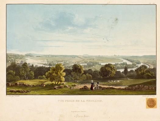 Sigismond Himely - Méandre de la Seine depuis les hauteurs de Bellevue, gravure aquarellée 1836