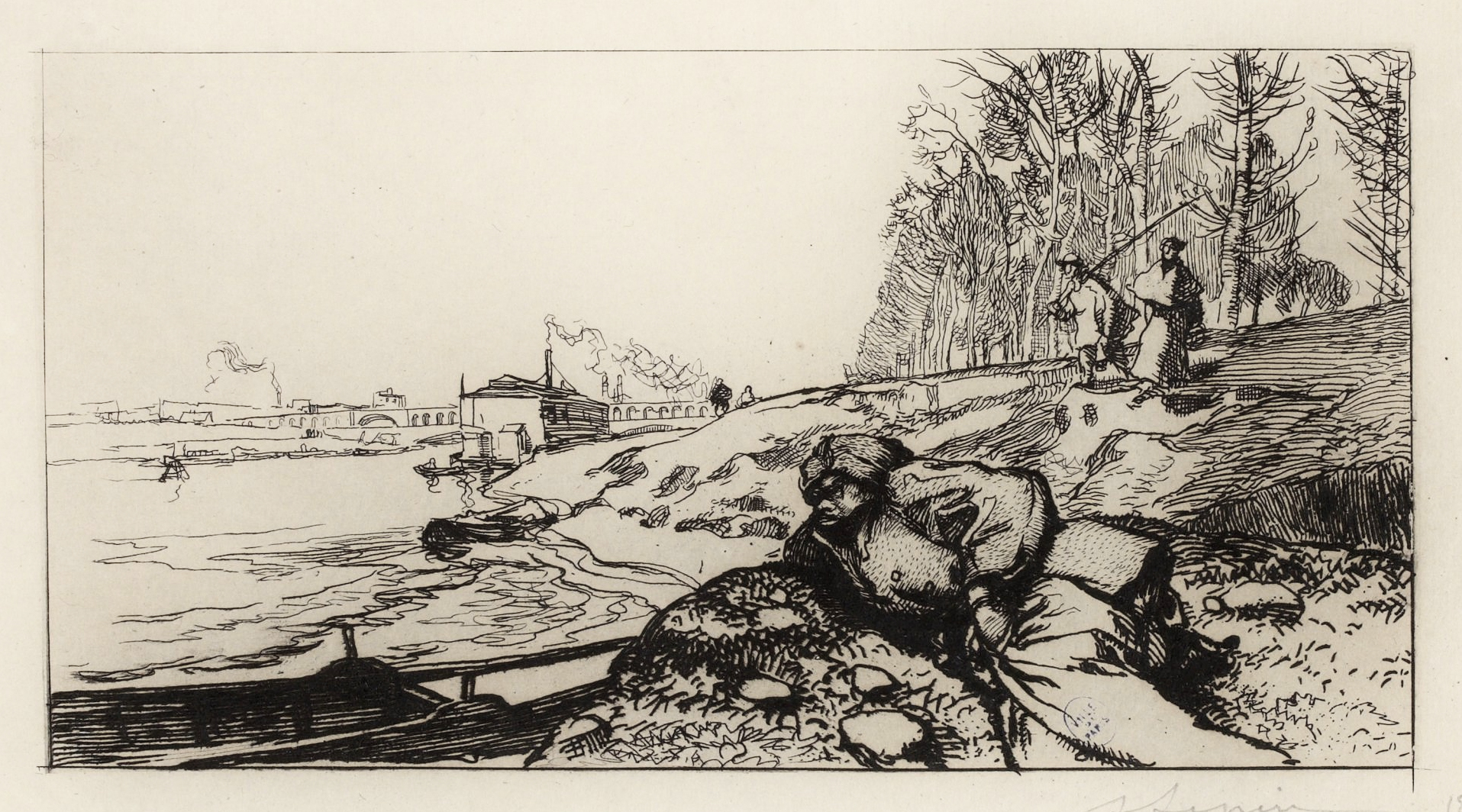 Auguste Lepère - Le passeur, route de Billancourt, près le point-du-jour-1899
