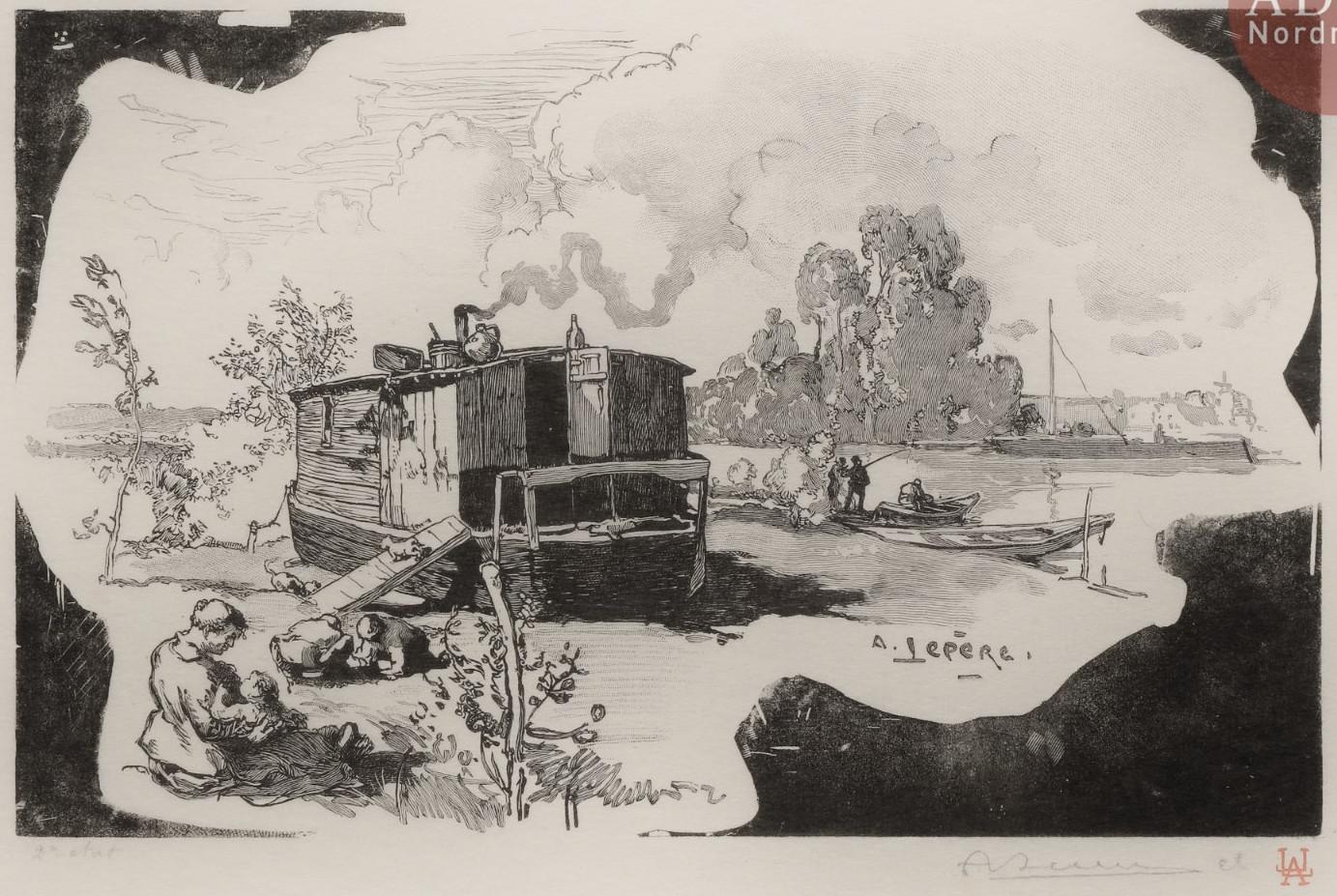 Auguste Lepere - Bateau-logement du passeur à Billancourt