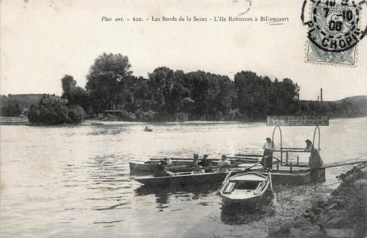 Le passeur Meunier et la guinguette le Robinson sur l'île Saint-Germain