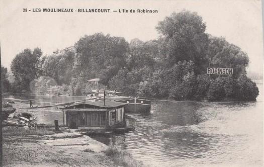 Robinson et le passeur, vu de l'autre rive, à Issy-les-Moulineaux