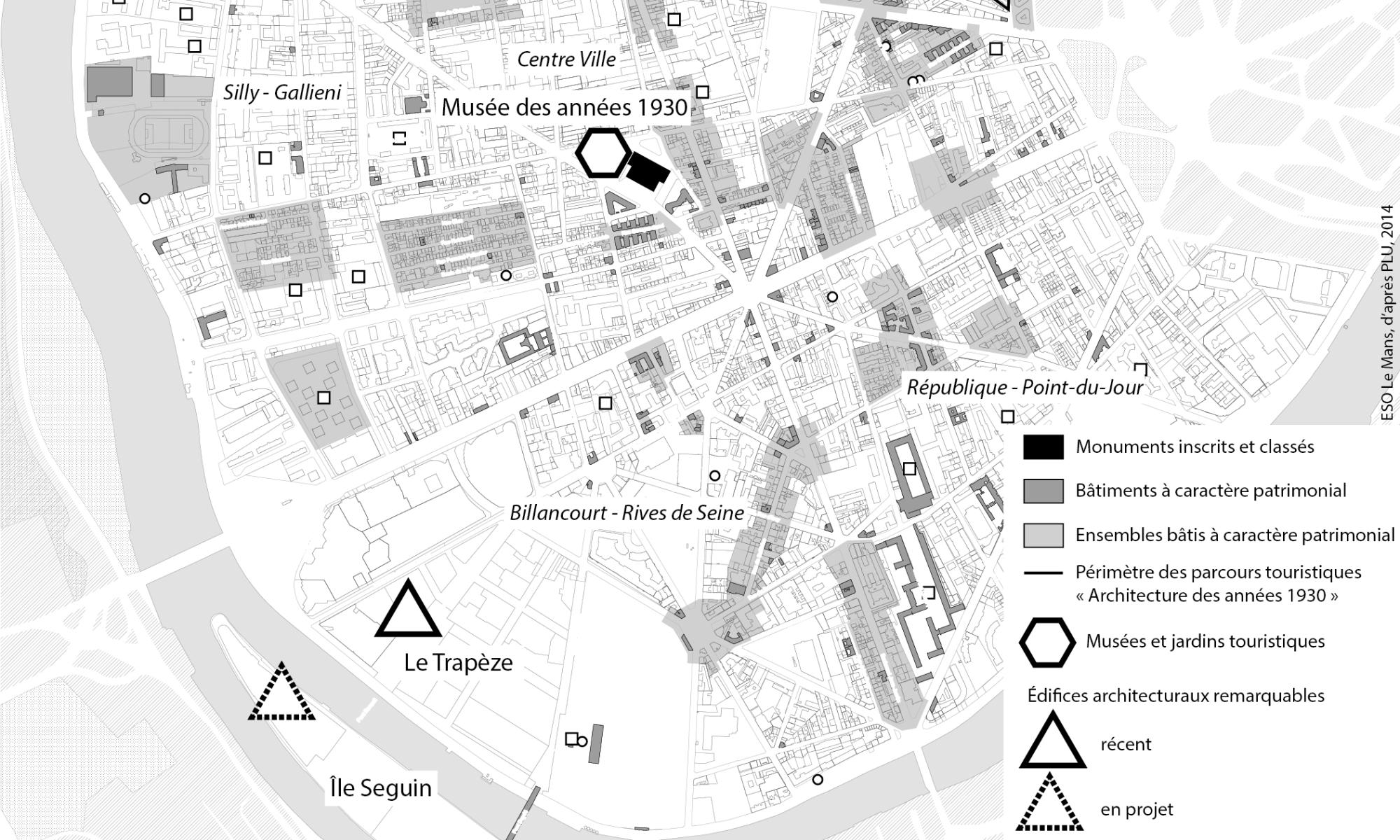 Plan moderne tourisme Boulogne-Billancourt