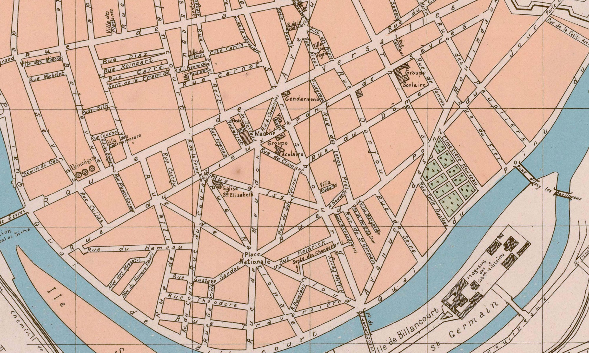 1909 - Extrait des plans indicateurs de la Banlieue 1909