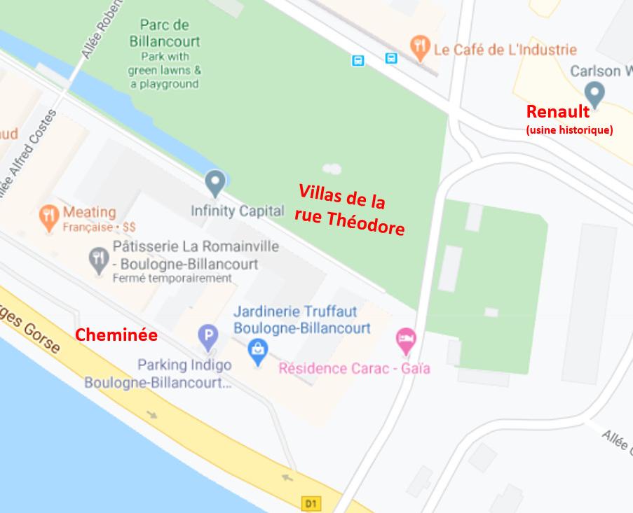 Villas de la rue Théodore localisation en 2020