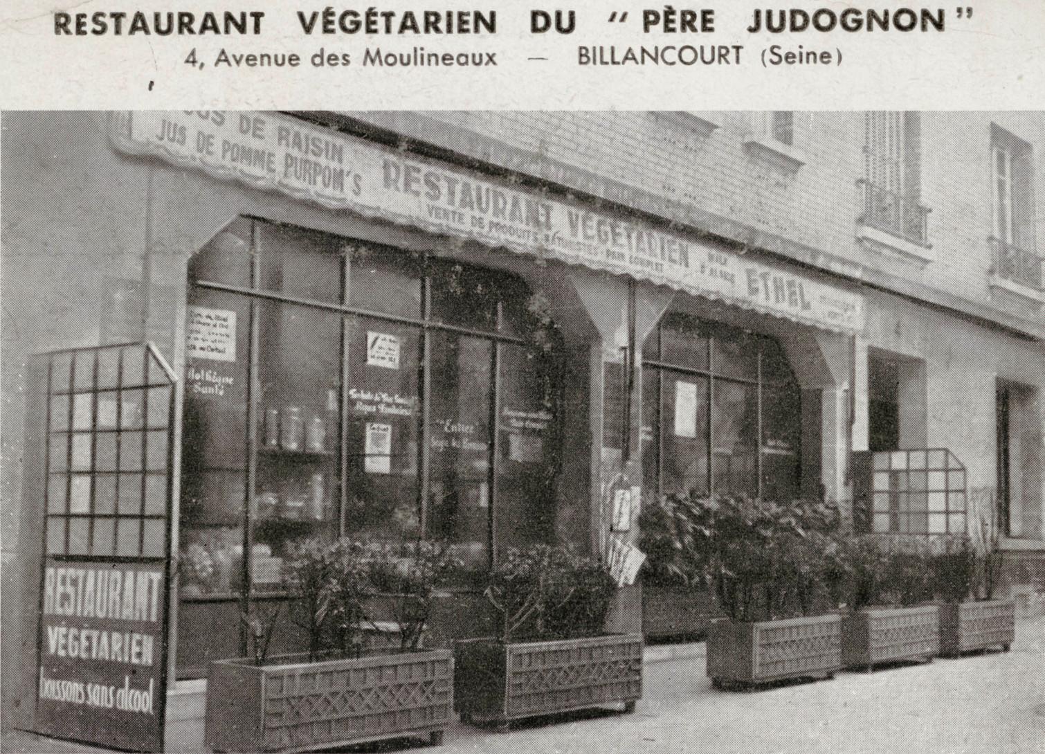 Restaurant végétarien du Père Judognon. Source : Delcampe