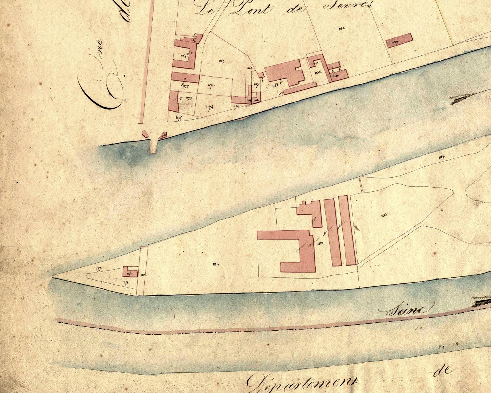 La manufacture de l'île Seguin cadastre 1823