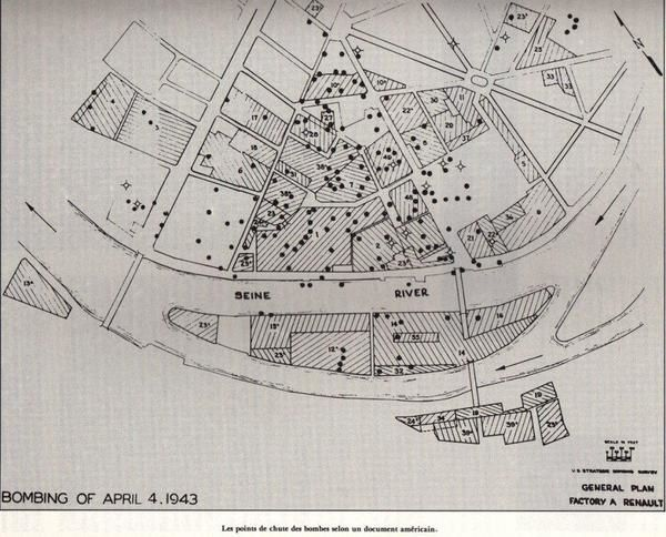 Carte Bombardement de Billancourt 4 avril 1943