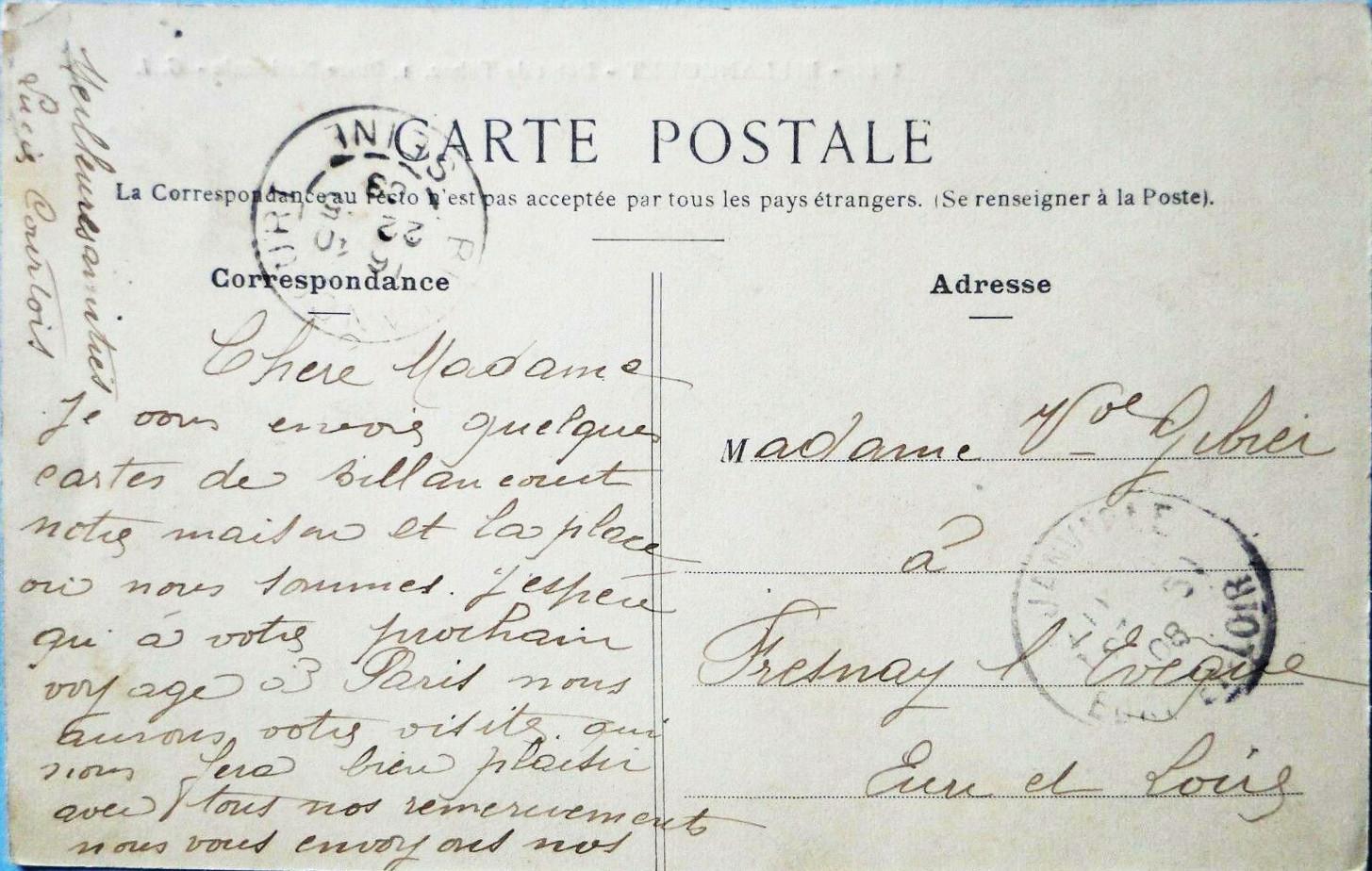 Carte manuscrite Courtois 1908