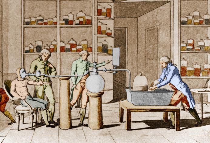 Armand Seguin et Lavoisier lors d'une expérience sur la respiration