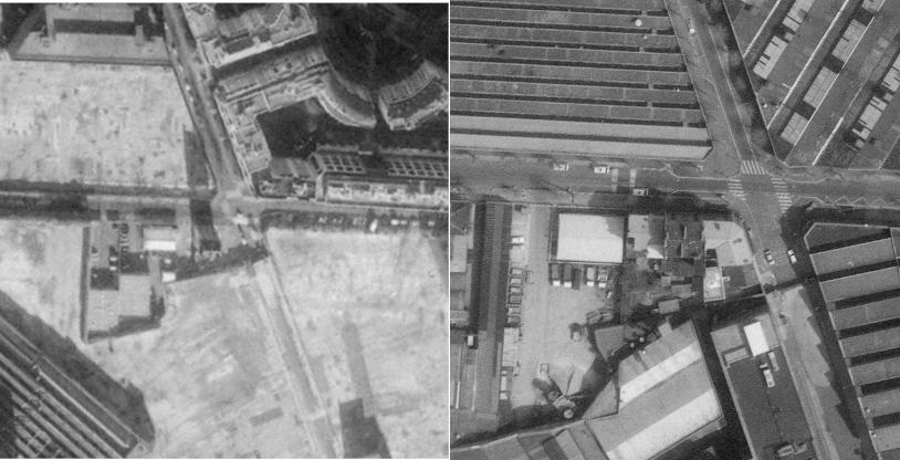 Le village gaulois en 1986 et en 2000. Photo : IGN