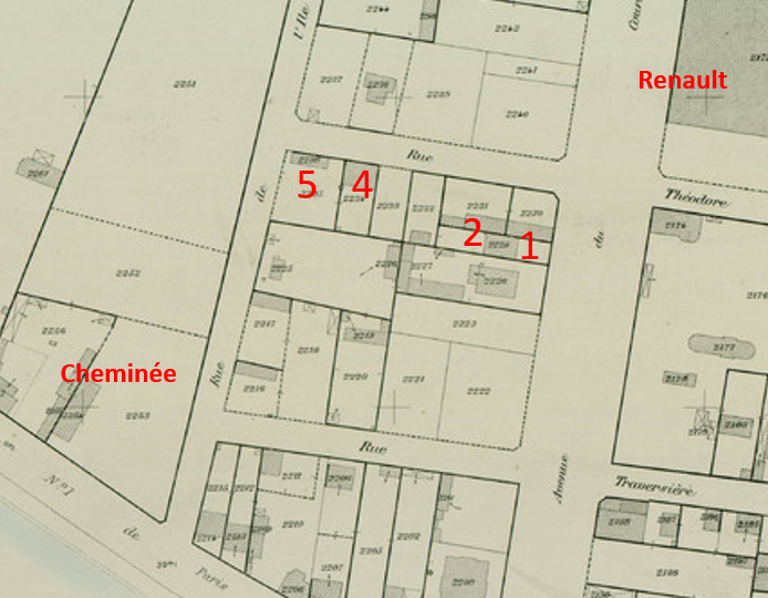 Photo rue Théodore sur Cadastre 1905