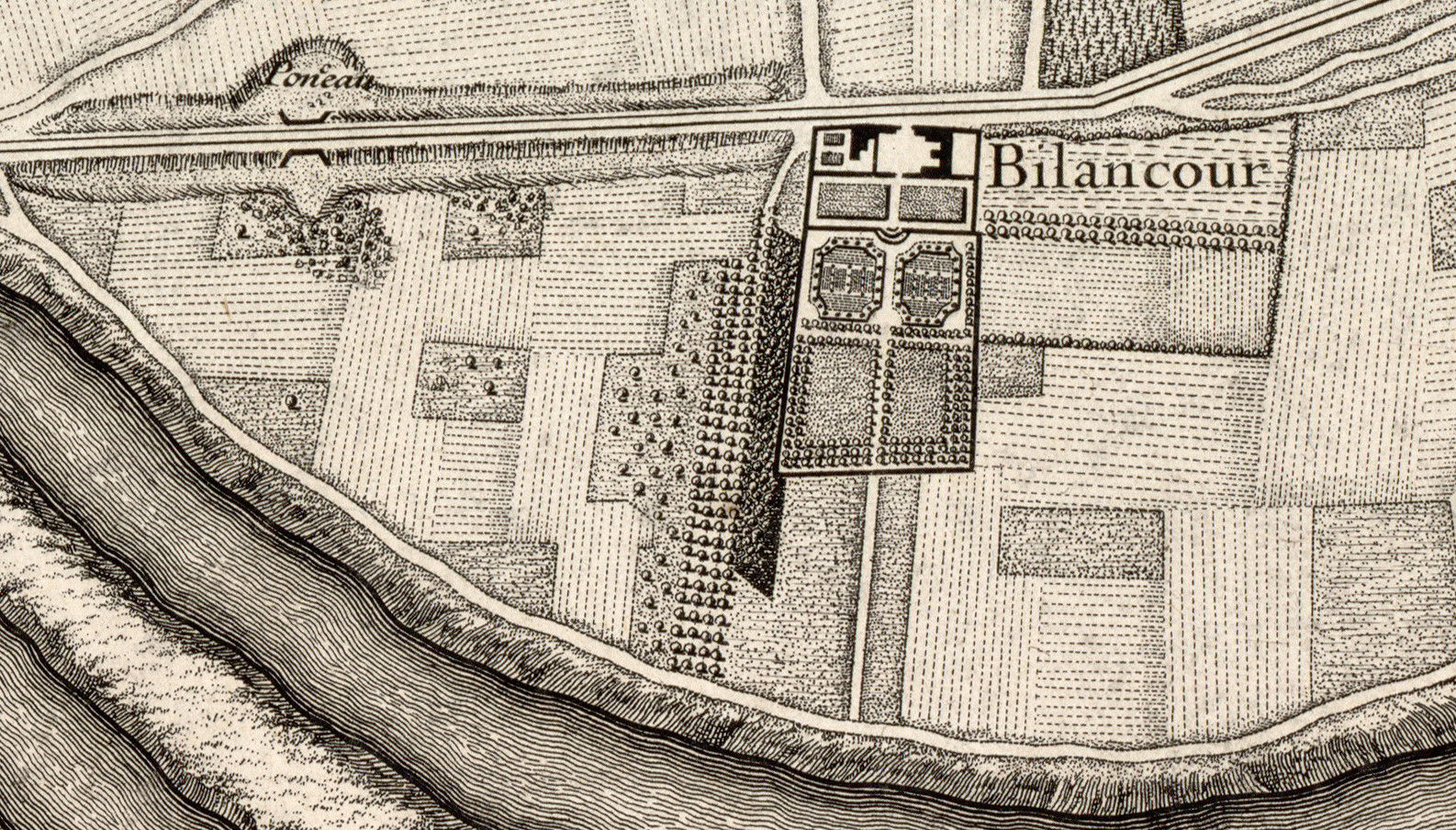 1731 Plan de Roussel - zoom ferme Billancourt