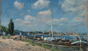 Alfred Sisley - déchargement des barges à Billancourt 1877
