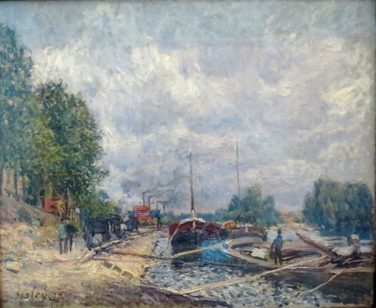 Alfred_Sisley - Barges a Billancourt 1877 Hermitage