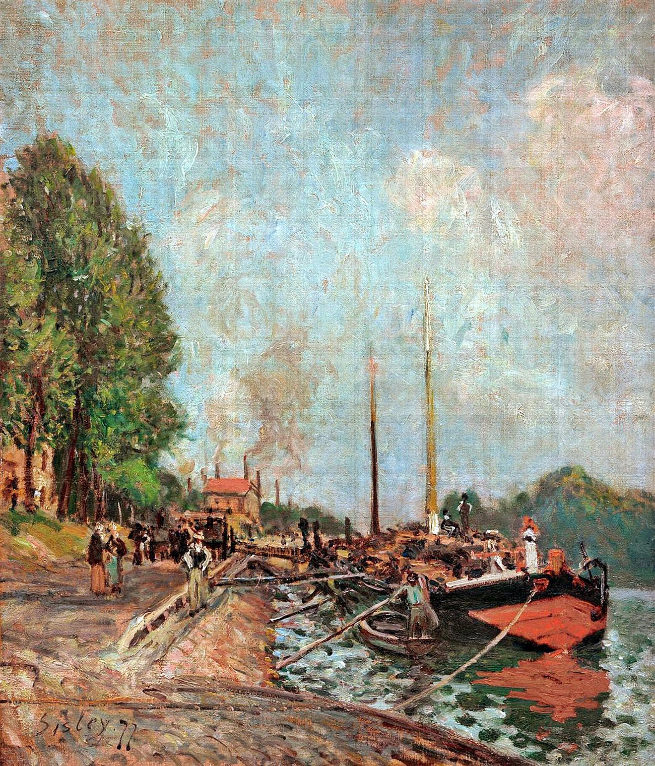 Alfred_Sisley - Le déchargement des_péniches à Billancourt 1877