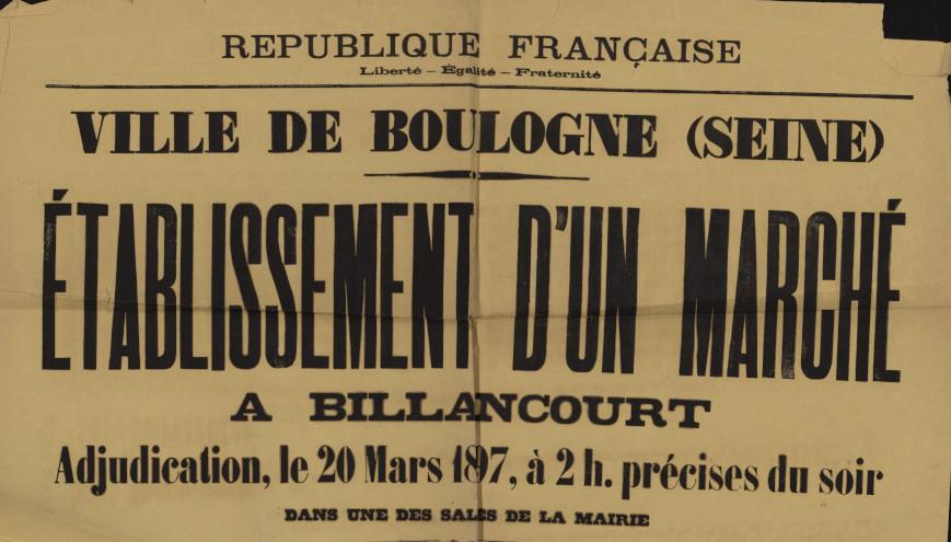 Etablissement du marché en 1897