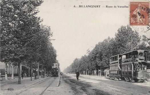 Route de Versailles (Av du Général Leclerc) et la ligne 1 du tramway