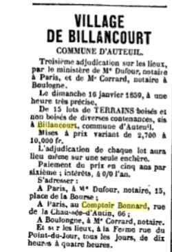 Vente Bonnard  en 1859