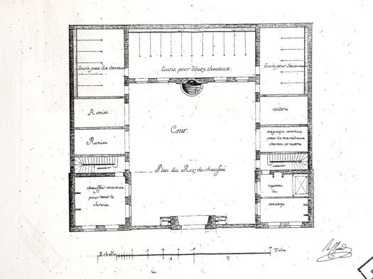 Plan des écuries du Comte d'Artois (rez-de-chaussée) 1777