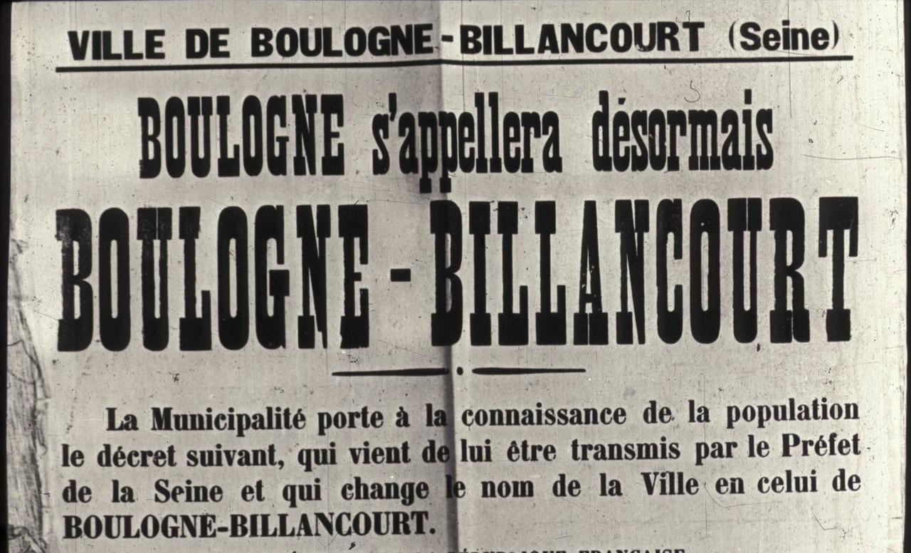 Affiche annonçant le changement de nom Source archives BB.