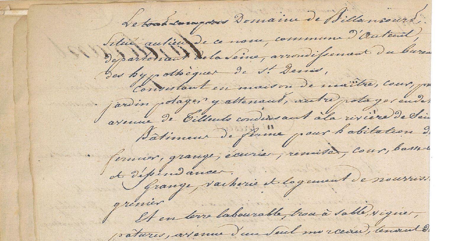Document notarial vente de la Ferme 1825