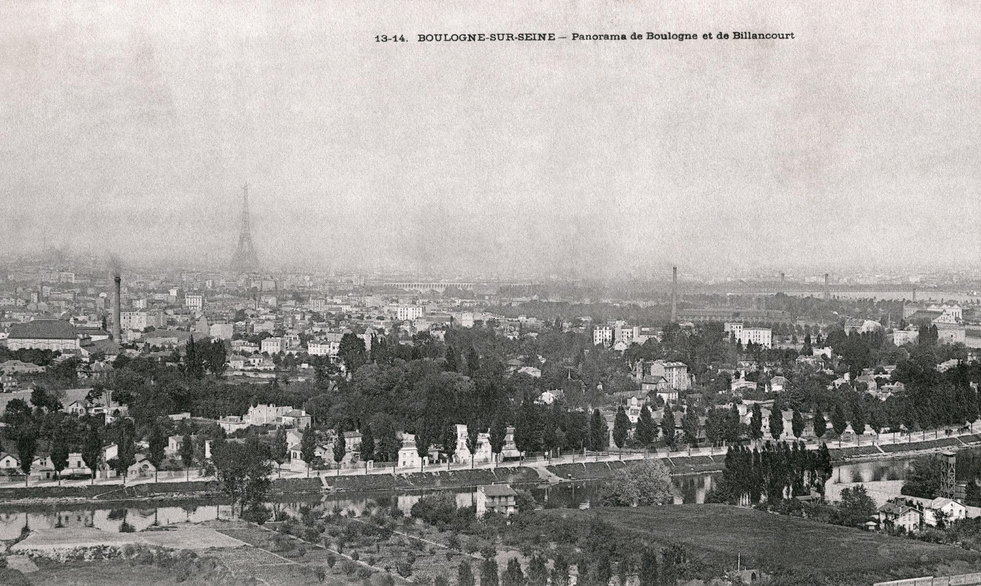 Carte postale-Héliothypie de E Le Deley-Vers 1903-Vue panoramique de Billancourt prise depuis Meudon Bellevue-Du Hameau-Fleuri au pont de Billancourt et au delà vers Paris.