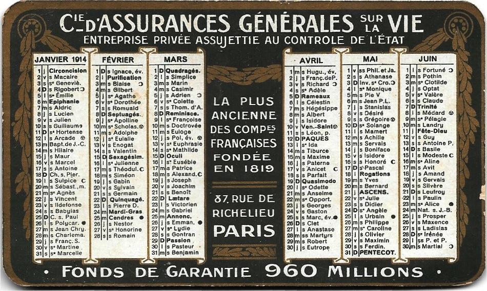 Calendrier Compagnie d'Assurances Générales