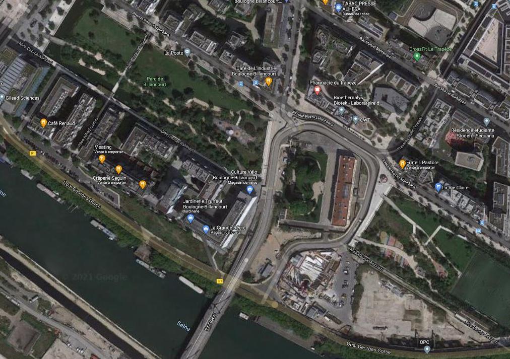 Le bâtiment Dreyfus et le parc de Billancourt. 2020.
