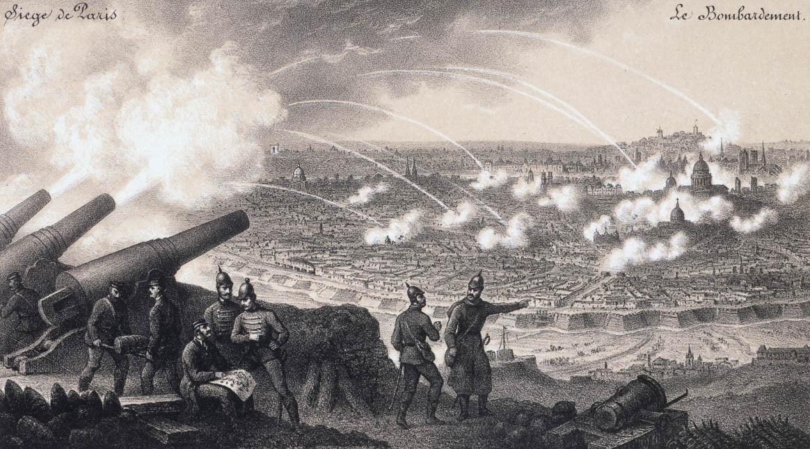"""""""Siège de Paris - le bombardement, guerre de l'invasion, 1870-1871"""". Estampe anonyme. Paris, musée Carnavalet."""