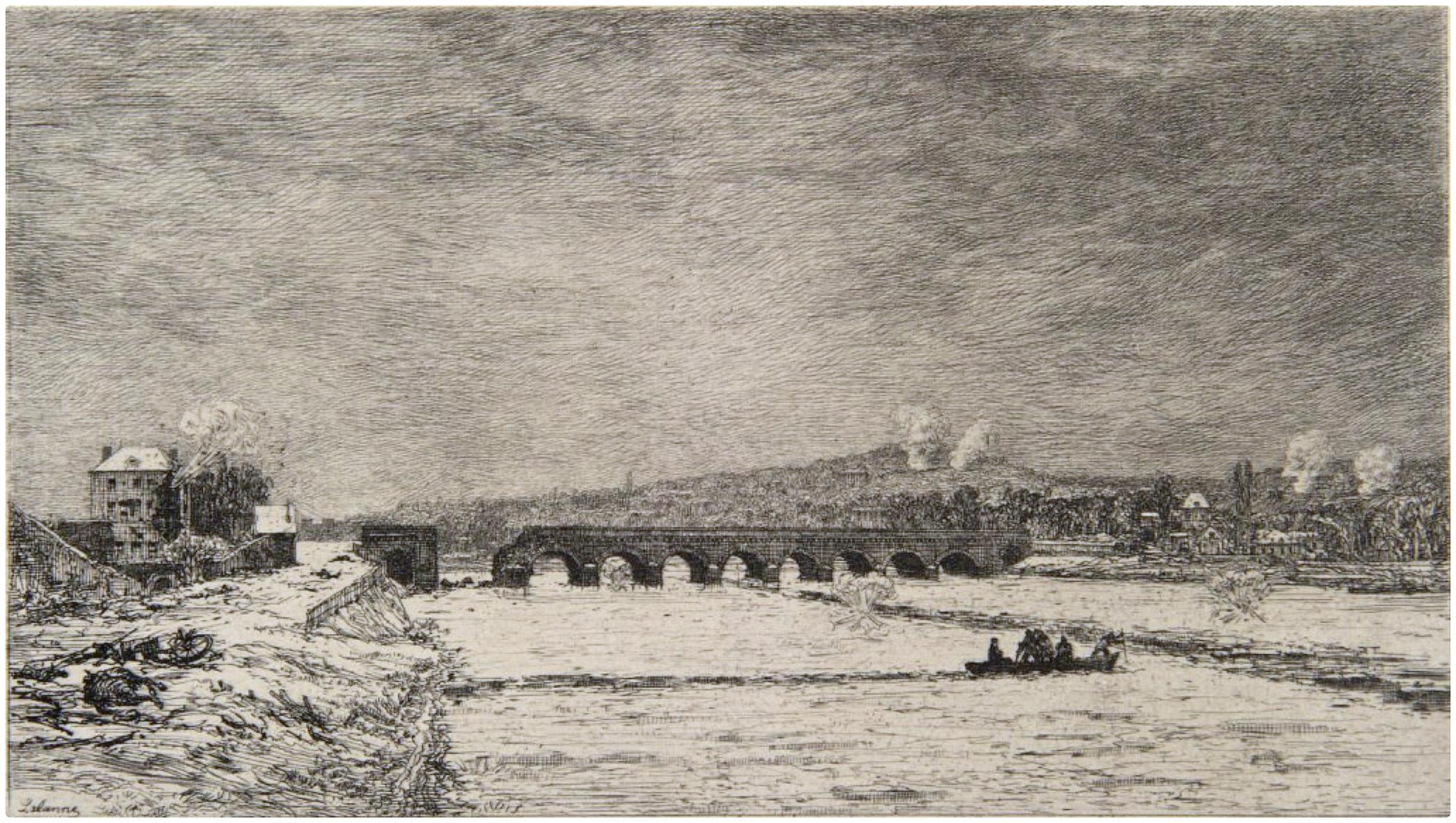 Maxime Lalanne-Le pont de Sèvres pendant le siège de Paris