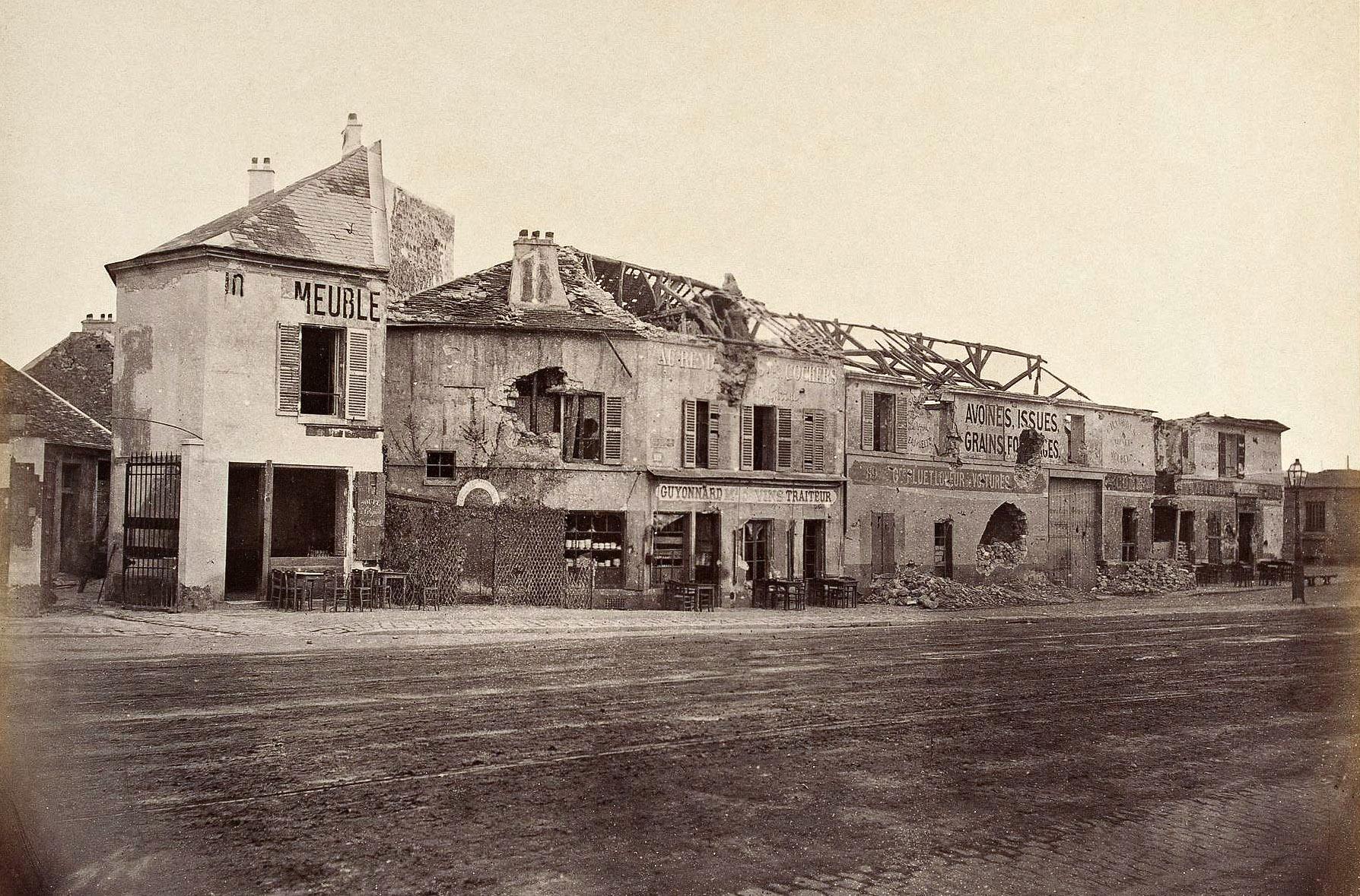 Ruines de la Commune. Point du jour, porte de Saint-Cloud, 16ème arrondissement, Paris, 1870-1871.