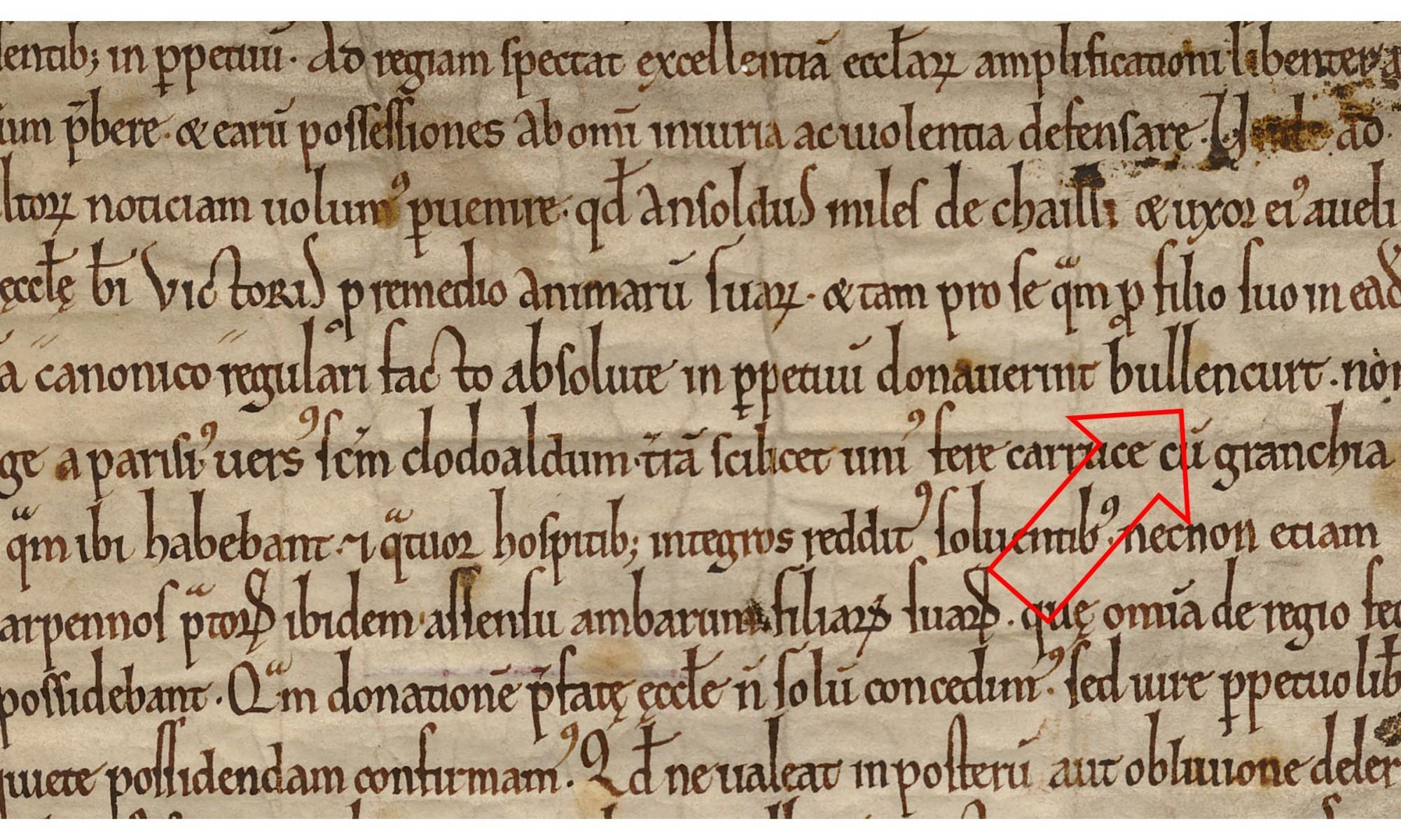 Charte 1150 avec flèche