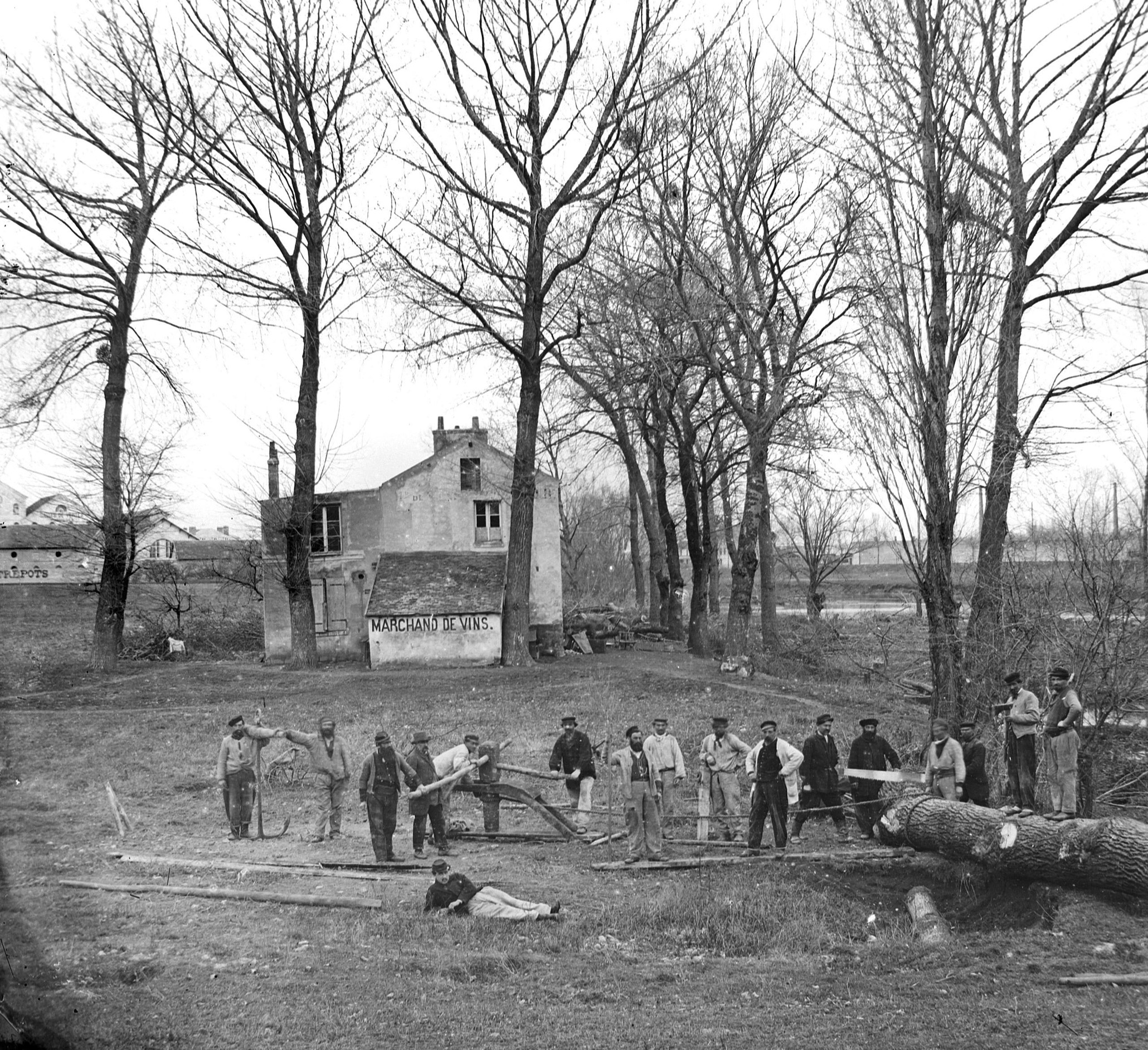 Ile de Billancourt-Mariniers déblayant la Seine-1871