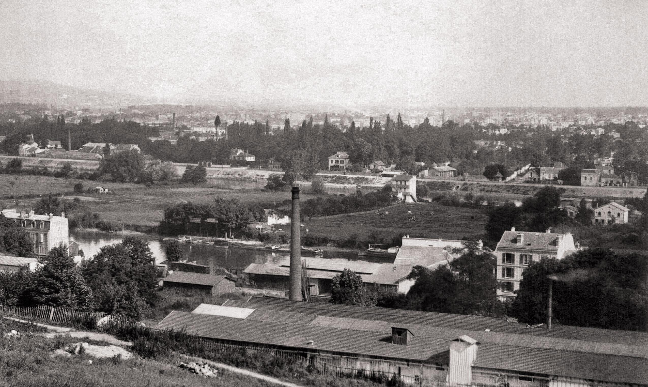 Ile Seguin et Billancourt depuis Meudon-vers 1890