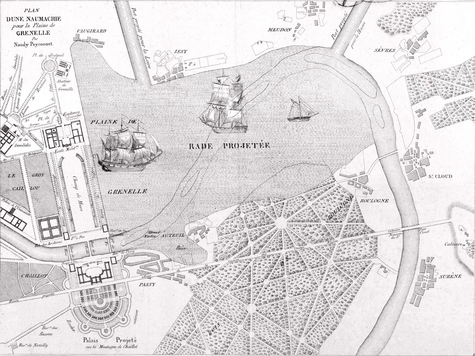 Plan d'une naumachie pour la plaine de Grenelle par Naudy Peyronnet-1825_BNF_BHVP small